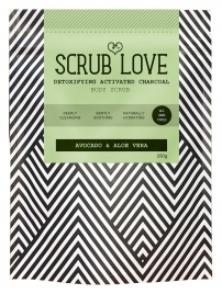 Body Scrub Love Charcoal Aloe Vera and Avocado Scrub, 200 gr