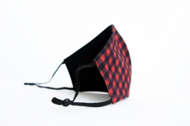 MENS BLACK AND RED CHEQUERED PRINTED FACE MASK BY ILOUNJ